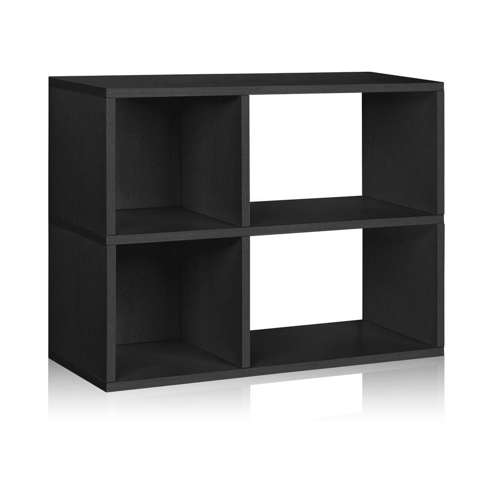 Chelsea 12 in. x 32.1 in. x 24.8 in. 2-Shelf zBoard Bookcase, Tool-Free Assembly Cubby Storage in Black Wood Grain