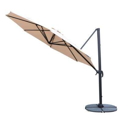 Cantilever Patio Umbrella In Beige With Crank And 4 Piece Cast Poly Base