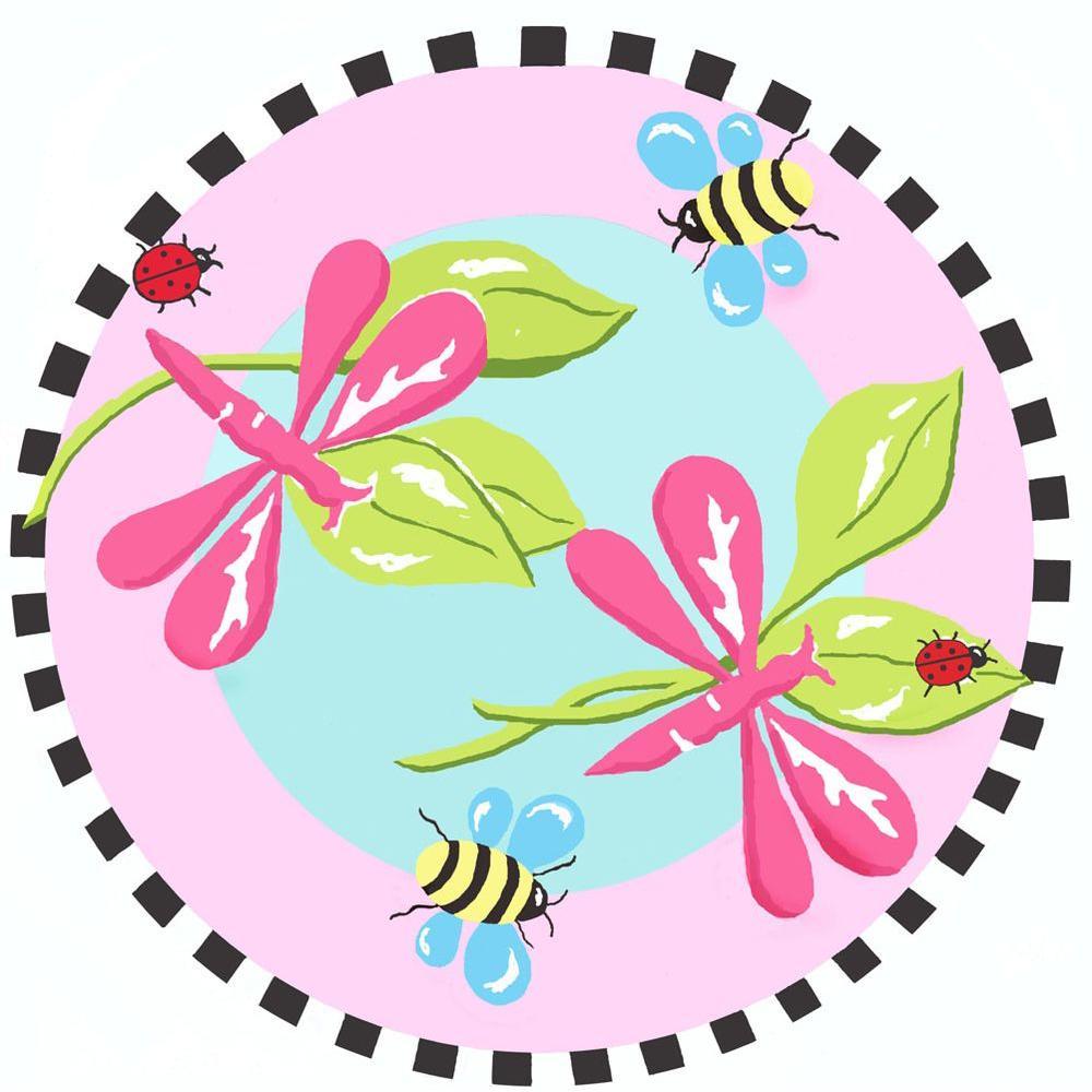 Jade Reynolds Pink Dragonfly 3 ft. Round Area Rug