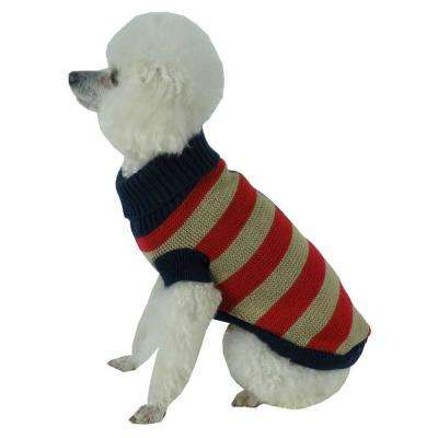 X-Small Red and Beige and Blue Patriot Independence Star Heavy Knitted Fashion Ribbed Turtle Neck Dog Sweater