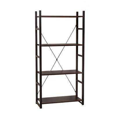 Dark Walnut 4-Tier Etagere Bookcase