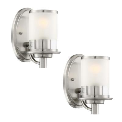 Truitt 1-Light Brushed Nickel Wall Sconce with a Combination Clear and Etched Glass Shade (2-Pack)