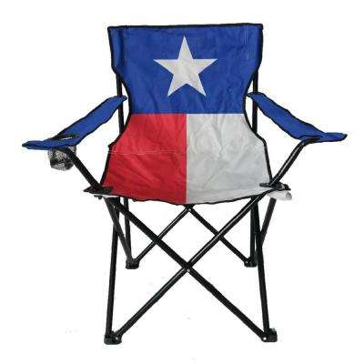 Red, White and Blue Steel Folding Texas Flag Bag Chair