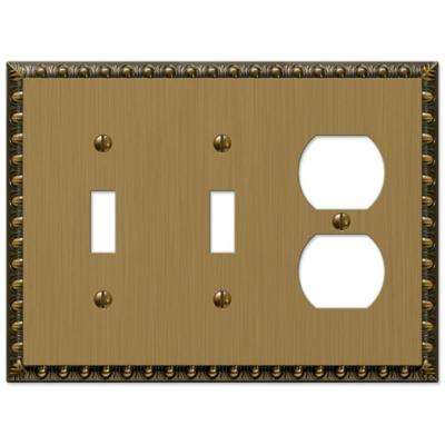 Renaissance 2 Toggle and 1 Duplex Wall Plate - Brushed Brass