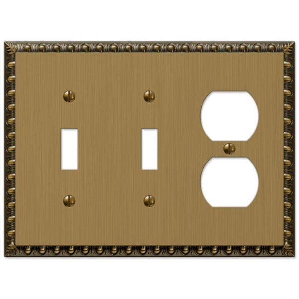 Antiquity 3 Gang 2-Toggle and 1-Duplex Metal Wall Plate - Brushed Brass