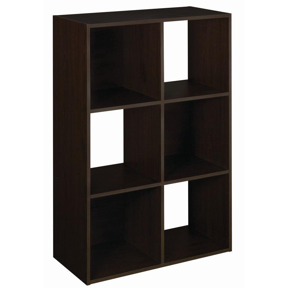36 in. H x 24 in. W x 12 in. D Espresso Wood Look 6-Cube Storage Organizer