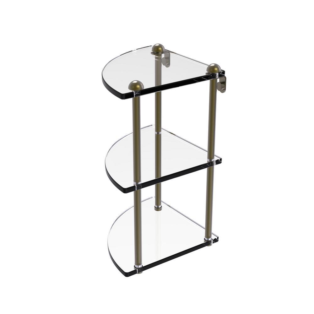 Allied Brass 8 in. Three Tier Corner Glass Shelf in Antique Brass-RC ...