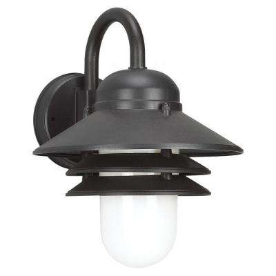 Polycarbonate Outdoor Collection 10.25 in. W.   1-Light Outdoor Black Wall Mount Lantern