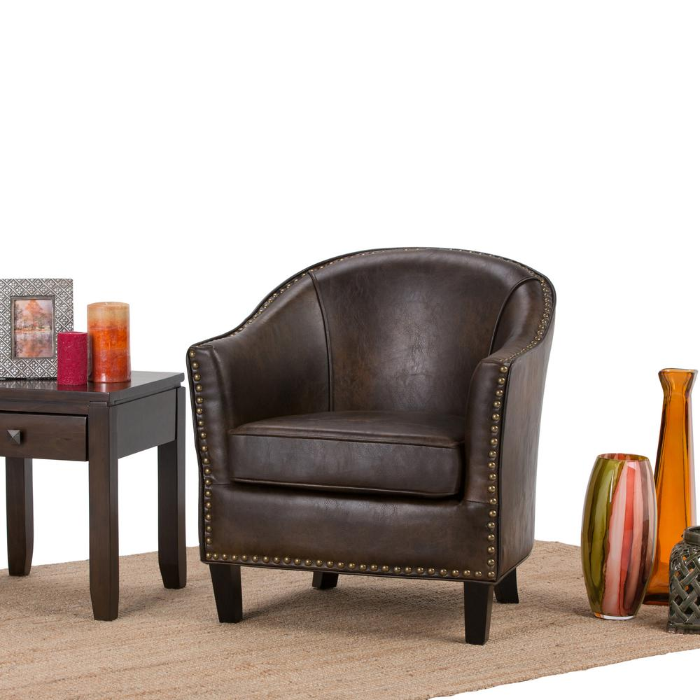 Simpli Home Kildare Distressed Brown Bonded Leather Arm Chair