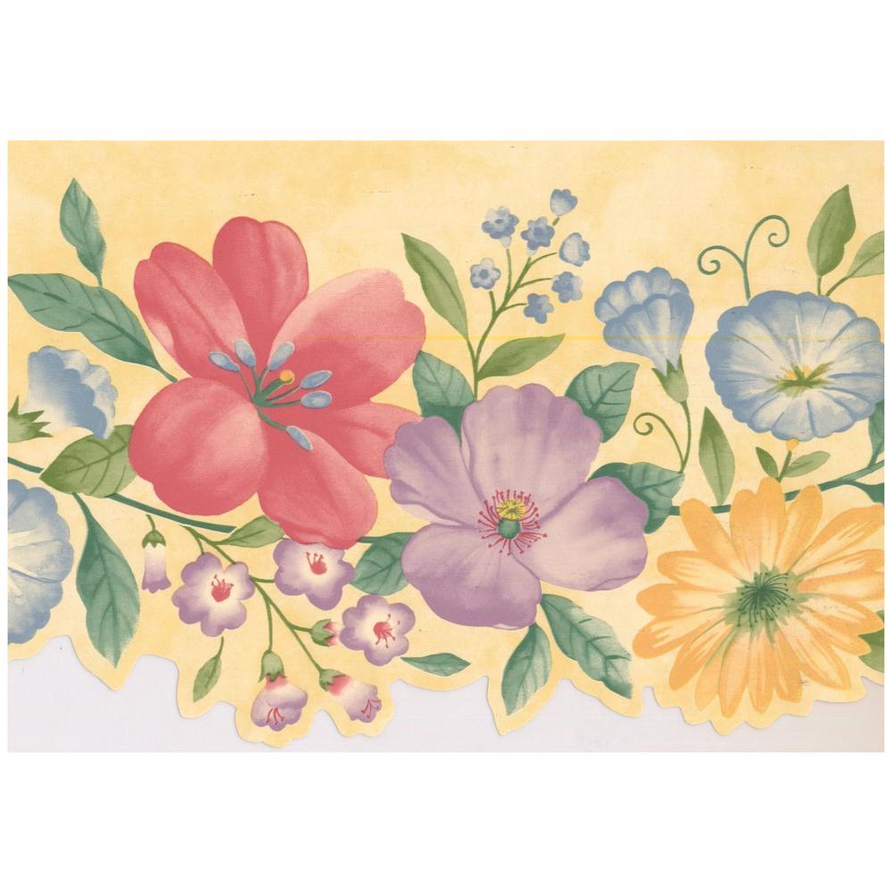 Yellow Blue Green Leaf /& Garden Floral Vine Wallpaper Border Flower Wall Decor