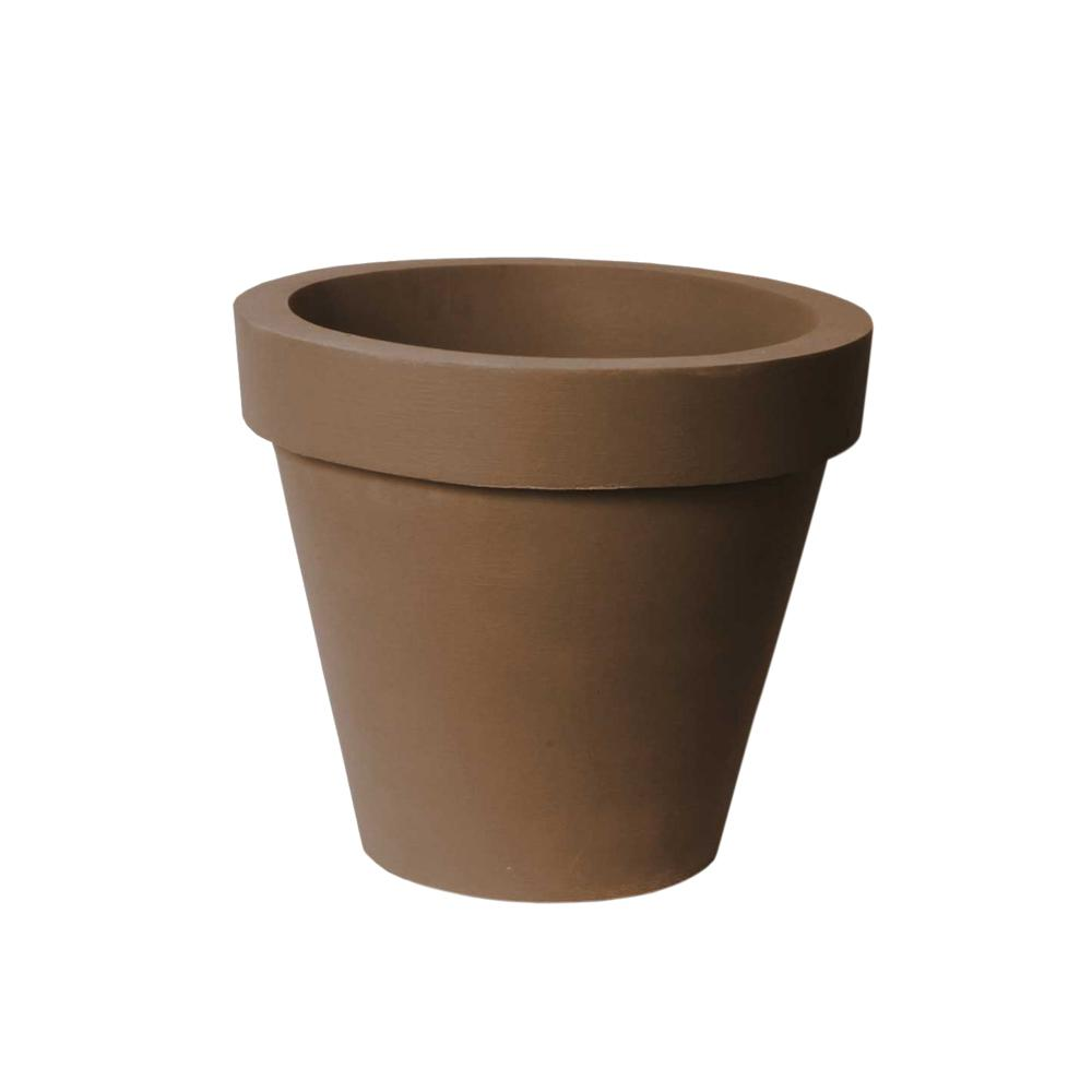 Classico 21 in. D x 17.3 in. Self-Watering BrownStone Plastic Planter