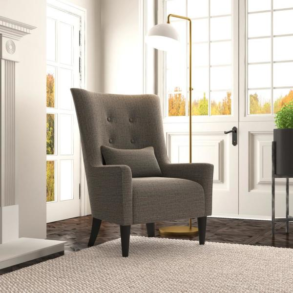 Handy Living Venecia Black Tweed Shelter High Back Wing Chair-340C-RDF19-117 - The Home Depot