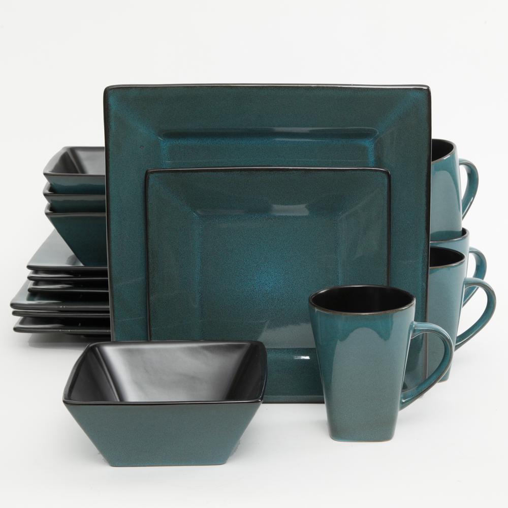 Kiesling 16-Piece Blue  Reactive Glaze Square Dinnerware Set
