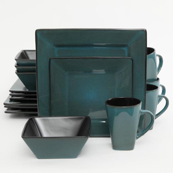Kiesling 16-Piece Blue  Reactive Glaze Square Dinnerware Set