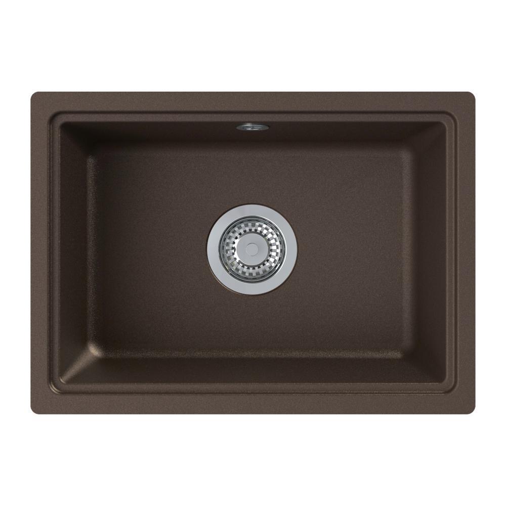 Genova Undermount Granite 20 in. Single Bowl Kitchen Sink in Espresso