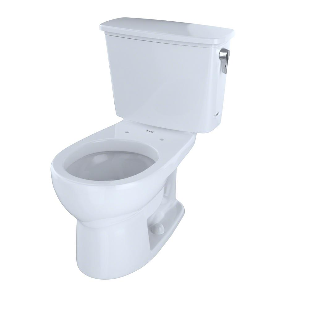 TOTO Eco Drake 2-Piece 1.28 GPF Single Flush Round Toilet with Right Hand Trip Lever in Cotton White