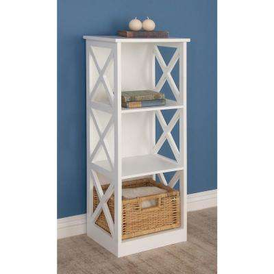 40 in. x 16 in. Modern 3-Tier Cube Shelving Unit in White