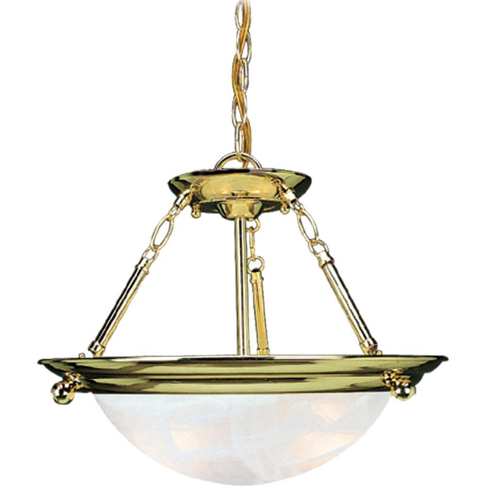 Lunar 2-Light Indoor Polished Brass Convertible Hanging Pendant (Semi-Flush) with Alabaster Glass Bowl