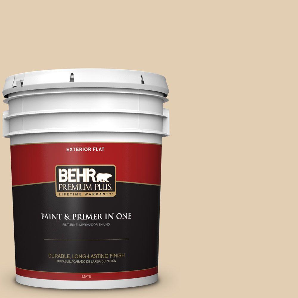 BEHR Premium Plus Home Decorators Collection 5-gal. #HDC-AC-09 Concord Buff Flat Exterior Paint