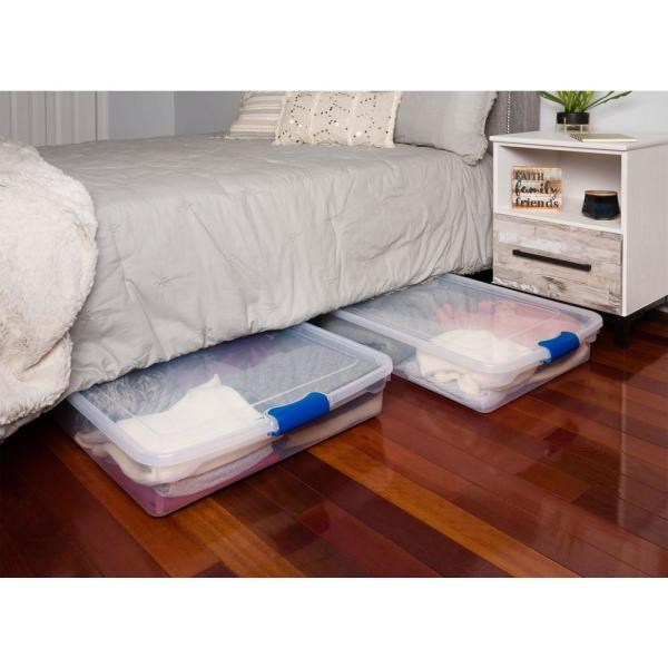 HOMZ 60 Qt. Twin/King Under Bed Latching Clear Storage Box (2-Pack)-3470CLRECOM.02 - The Home Depot