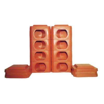 8 Point Octogan 1 Landscaping Timbers High Terra Cotta Blocks and Covers (16 pieces)