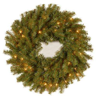 24 in. Norwood Fir Artificial Wreath with Clear Lights