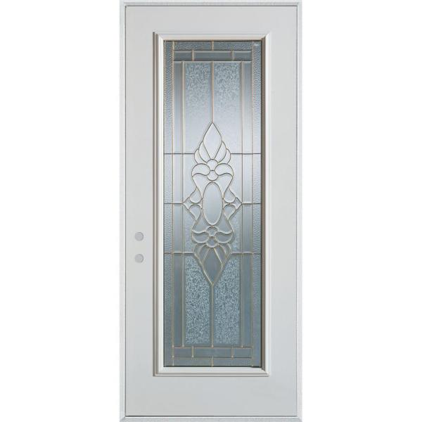 36 in. x 80 in. Traditional Brass Full Lite Prefinished White Right-Hand Inswing Steel Prehung Front Door