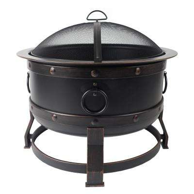 Killian 28 in. Steel Fire Pit in Rubbed Bronze with Cooking Grid