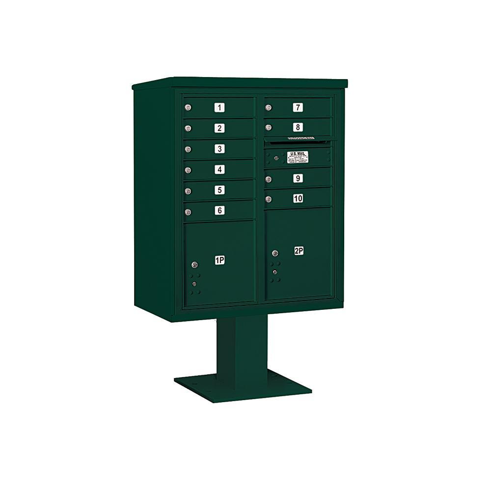 3400 Horizontal Series 10-Compartment 2-Parcel Locker Pedestal Mount Mailbox