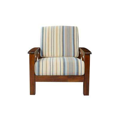Virginia X Design Arm Chair with Exposed Wood Frame in Blue Stripe