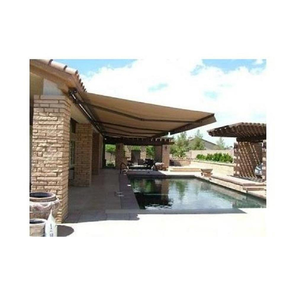 Aleko 20 Ft Motorized Retractable Awning 120 In Projection In Sand Awm20x10sand31 Hd The Home Depot