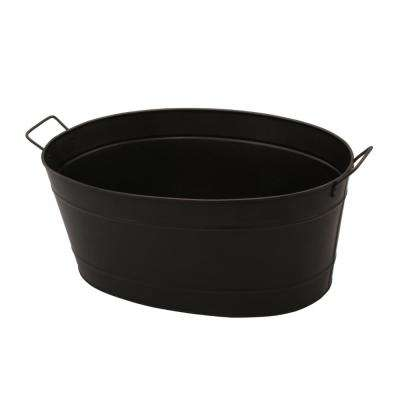 Oval Shaped Powder Coated Black Galvanized Steel Tub with 2-Handles