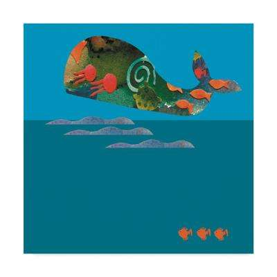 18 in. 18 in. Whiskers Studio 'The Whale' Canvas Wall Art