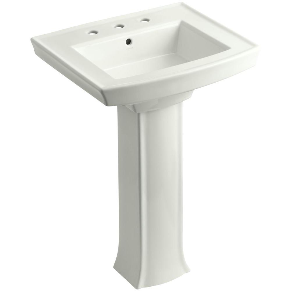 KOHLER Archer Vitreous China Pedestal Combo Bathroom Sink in Dune with Overflow Drain