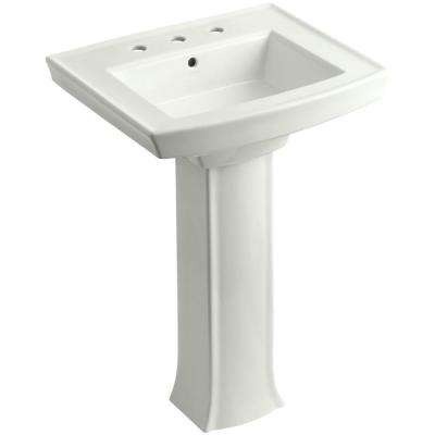 Archer Vitreous China Pedestal Combo Bathroom Sink in Dune with Overflow Drain
