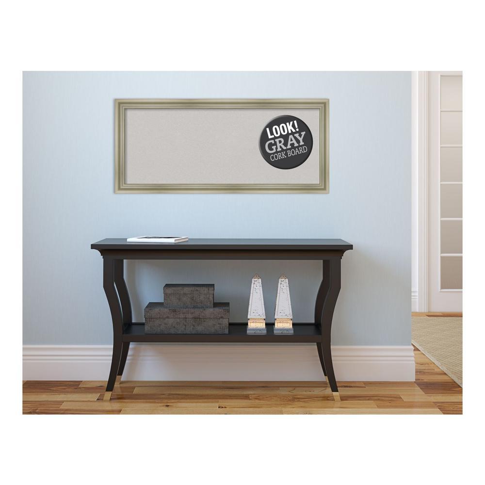 Warm Silver Swoop Wood 32 in. x 14 in. Framed Grey Cork Board