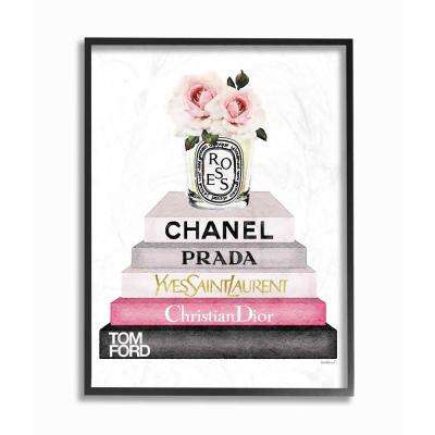 """16 in. x 20 in. """"Book Stack Fashion Candle Pink Rose"""" by Amanda Greenwood Wood Framed Wall Art"""
