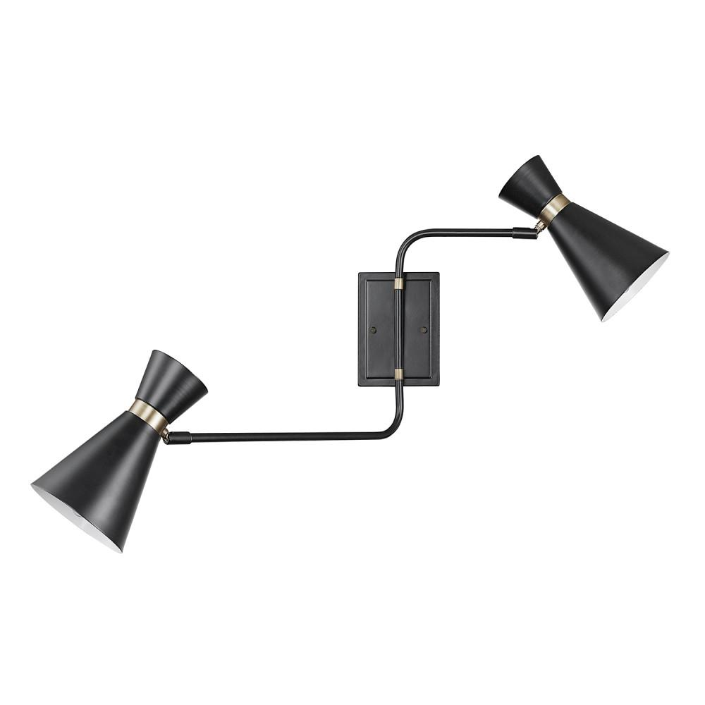 Globe Electric Belmont 2-Light Matte Black Swing Arm Wall Sconce
