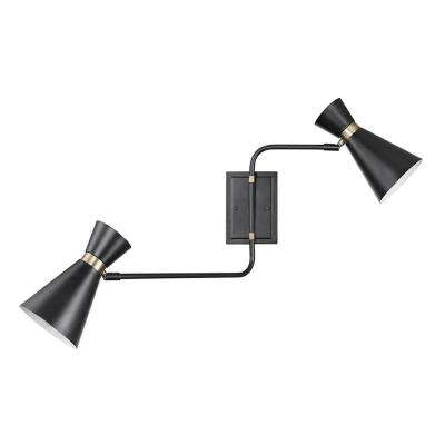 Belmont 2-Light Matte Black Swing Arm Wall Sconce