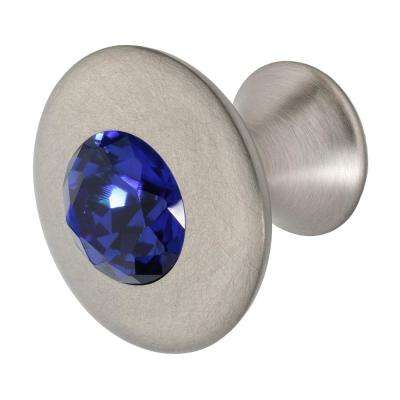 Felicia 1-1/4 in. Satin Nickel with Dark Blue Crystal Cabinet Knob