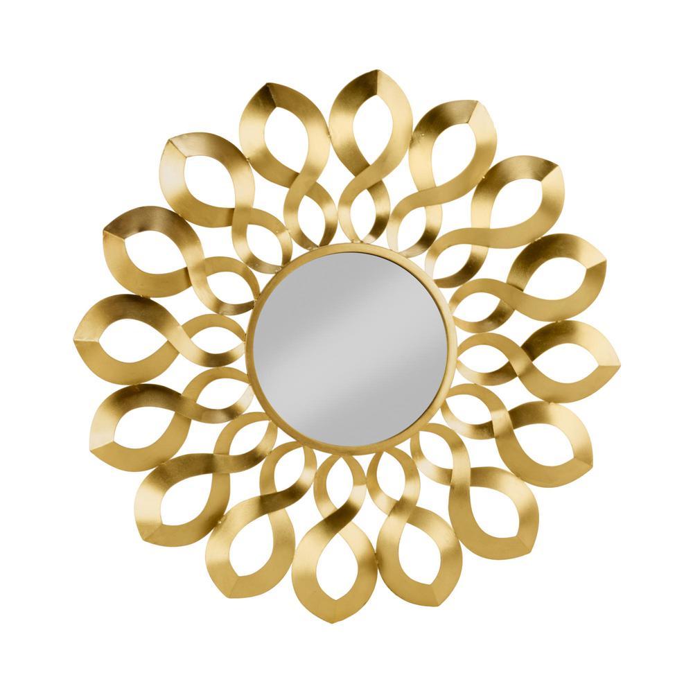 Medium Round Gold Classic Mirror (36.2000 in. H x 36.2 in. W)