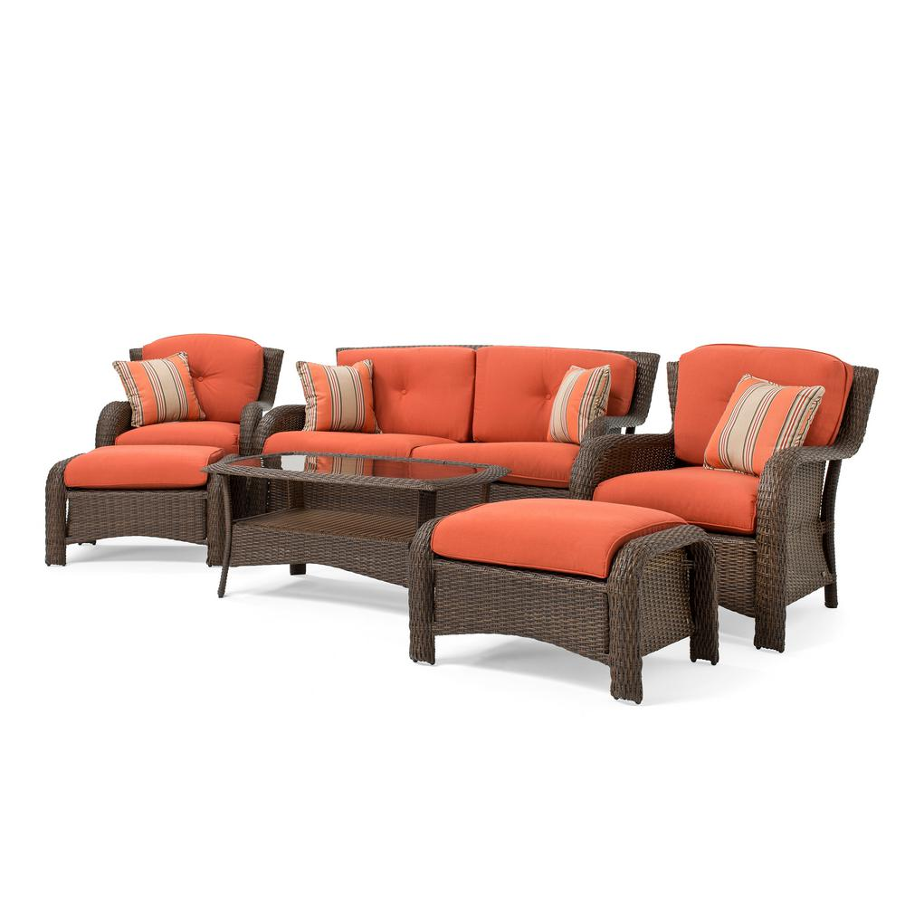 Sawyer 6 piece wicker outdoor seating set with sunbrella spectrum grenadine cushion
