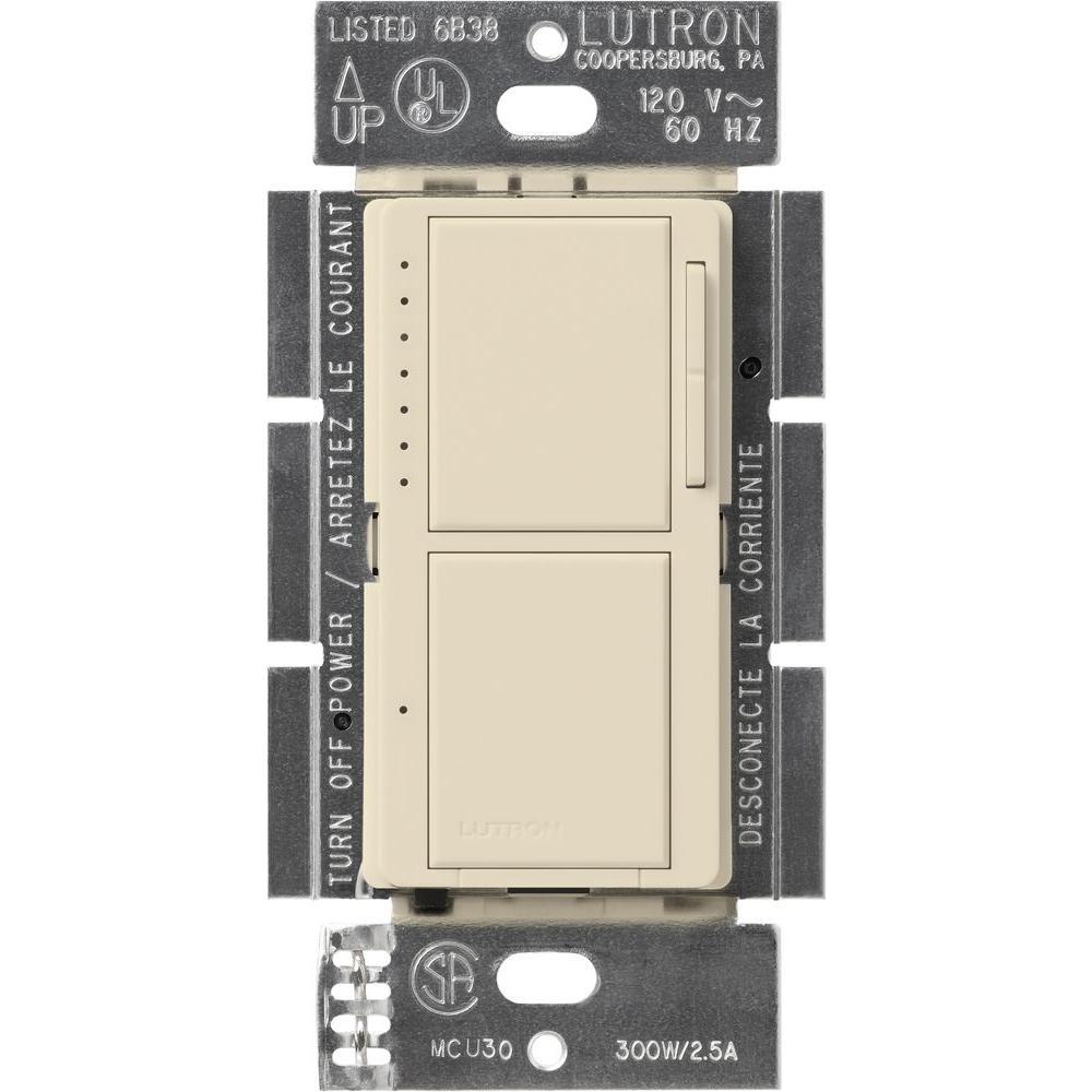 Maestro 300-Watt Single-Pole Dual Dimmer and Switch - Light Almond