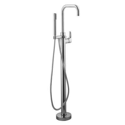 Modern Single-Handle Freestanding Floor Mount Tub Faucet in Chrome