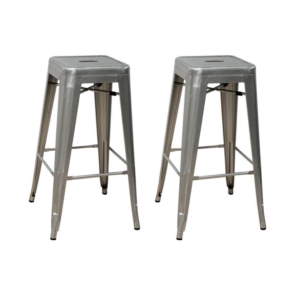 Industrial 30 in. Silver Metal Modern Barstool (Set of 2)
