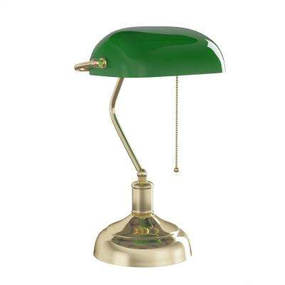 14.5 in. Metal Brass Antique-Inspired Bankers Lamp with Green Glass Shade