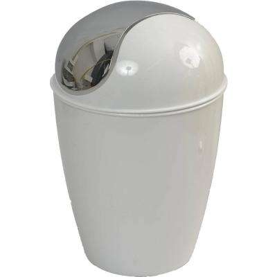 0.5 l/0.3 Gal. Mini Waste Basket for Bath or Kitchen Countertop in Chrome Lid and White
