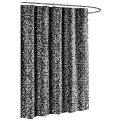 Adisson Printed Cotton Blend 72 in. W x 72 in. L Soft Fabric Shower Curtain Charcoal