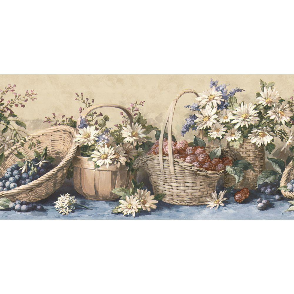 The Wallpaper Company 10.25 in. x 15 ft. Blue Country Baskets and Sunflowers Border