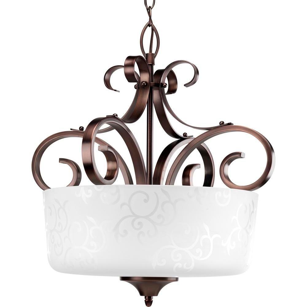 Progress Lighting Nicollette Collection 3-Light Copper Bronze Foyer Pendant-DISCONTINUED
